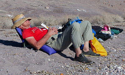 Dave Erskine showing us how to relax. We had lots of time to do this during the trip since weather kept us on shore a lot.