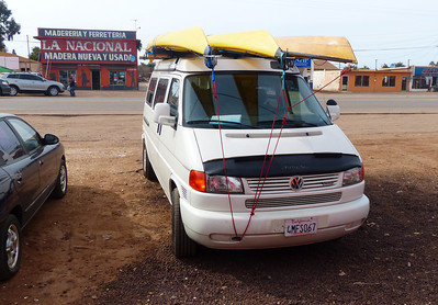 We used my recently purchased 2000 Eurovan to transport us and our gear to Bahia de Los Angeles. Driving in Baja is not a problem. However, it is a good idea to not linger at the border areas, to not drive at night, and to be very careful to keep the car on the pavement, since the shoulders are usually non-existent.