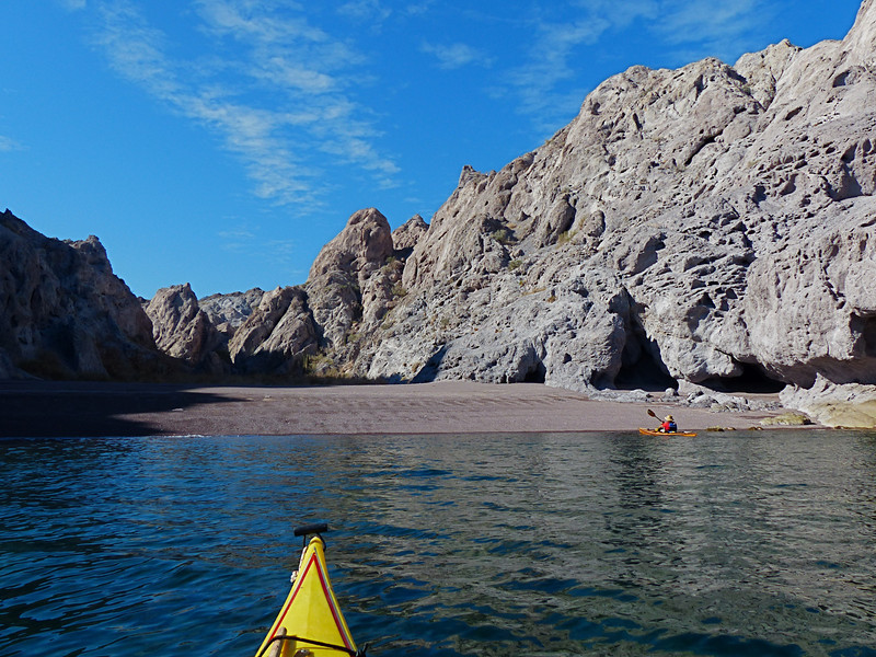 We often had to paddle along high bluffs, but many arroyos had nice beaches to land on for breaks, lunches, or camps.