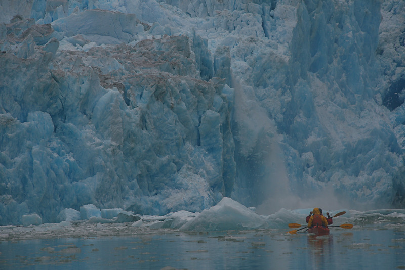 Calving is seen dozens of times from our kayaks. We stay far enough away that we don't get swamped with the waves formed when by the ice collapses.