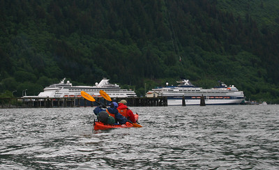 Later in the day, we see a couple of the big cruise ships in Juneau Harbor. There are often 4 ships docked here.