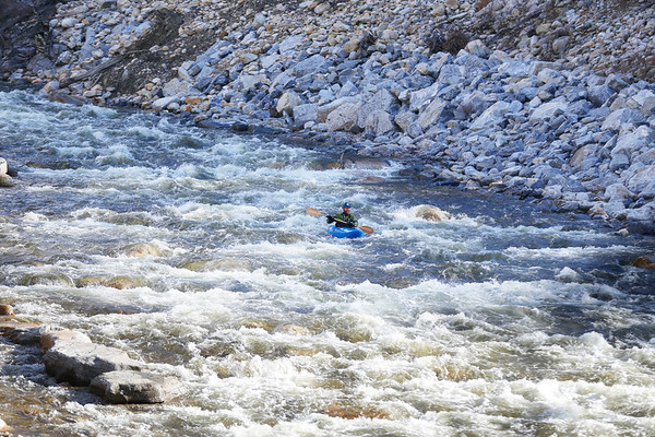 Kayaker paddles down the Roaring Branch. 030217