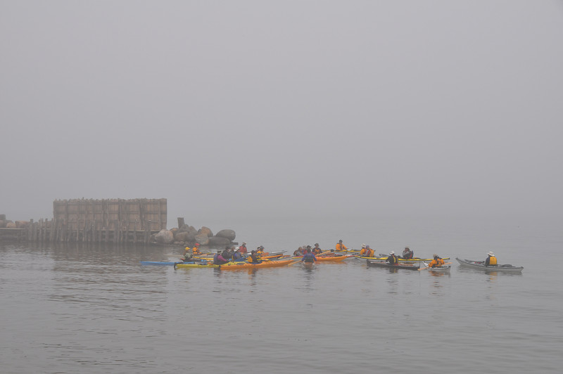 The Sand Island group staging at the Fish Camp.  Normally Sand dominates this view but not with 1/4 mile visibility.