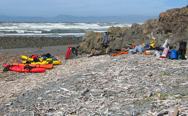 Camp site #1 - near Crescent City after being blown in by the winds.