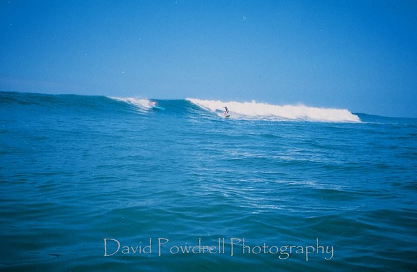 Dave Baxter in the kayak.  Doug Powdrell on the surfboard.