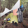 MSR Hubba HP tent (single person).  Everything gets damp and soggy in SE Alaska, so leave the down bags at home.