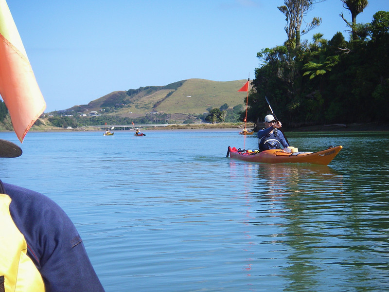 Paddling up Mokau River