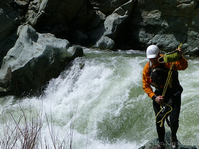 Chuck sets up safety for Mear's Creek Falls.