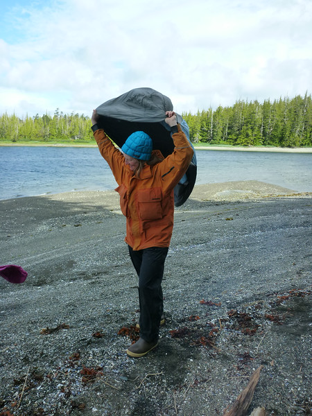 Airing out the sleeping bag after 5 or 6 straight days of rain.