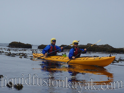 Sea kayaking to Fort Bragg's Glass Beach on the Mendocino Coast.