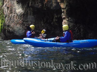 Kayak rock gardening fun in Fort Bragg, California.