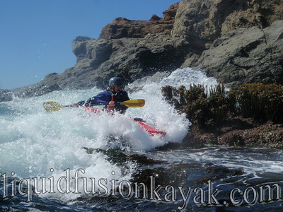 Kayak rock gardening fun in Fort Bragg, California.