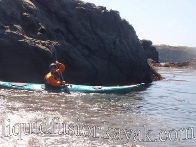 Sea kayak instruction on the Mendocino Coast.