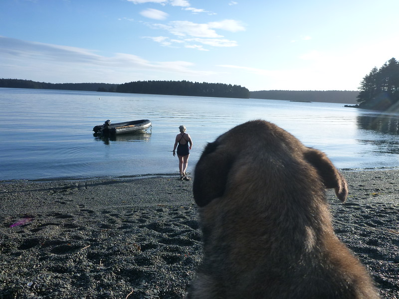 Mags thinking that Kay is crazy to swim in Alaska.