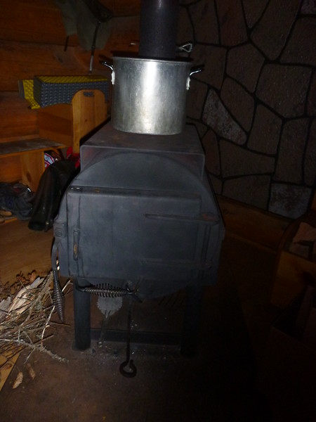 Cool wood stove inside Big Bay visitor center.