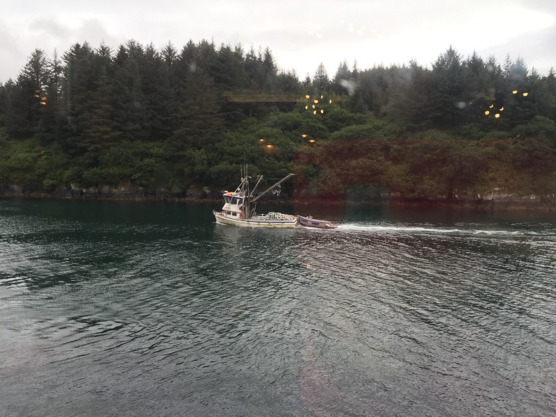 fishing boat heading out through Kodiak Bay... the view from The Old Powerhouse Restaurant.