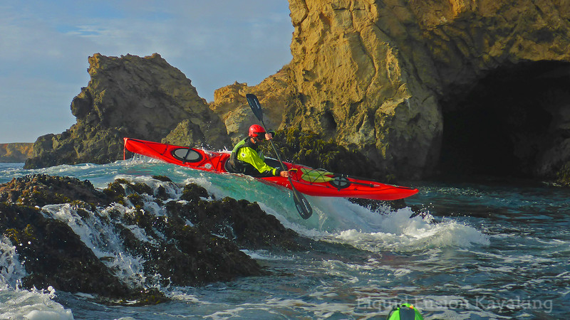 Sea kayak rock gardening Mendocino