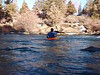 Darrin ferrying the swift water below First Street Rapid.