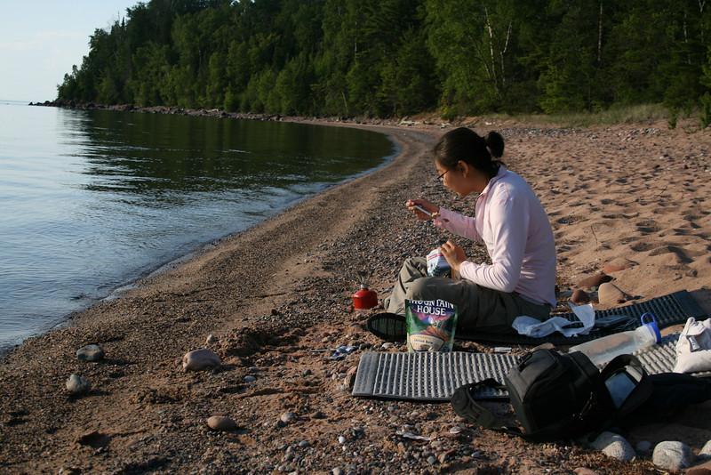Eating dinner on Cat Island