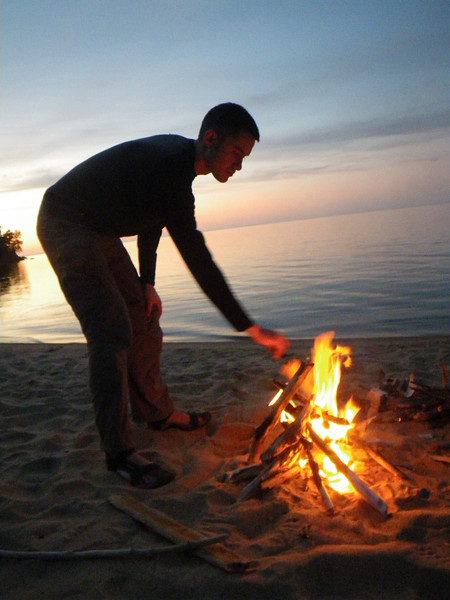 Making a twig fire.