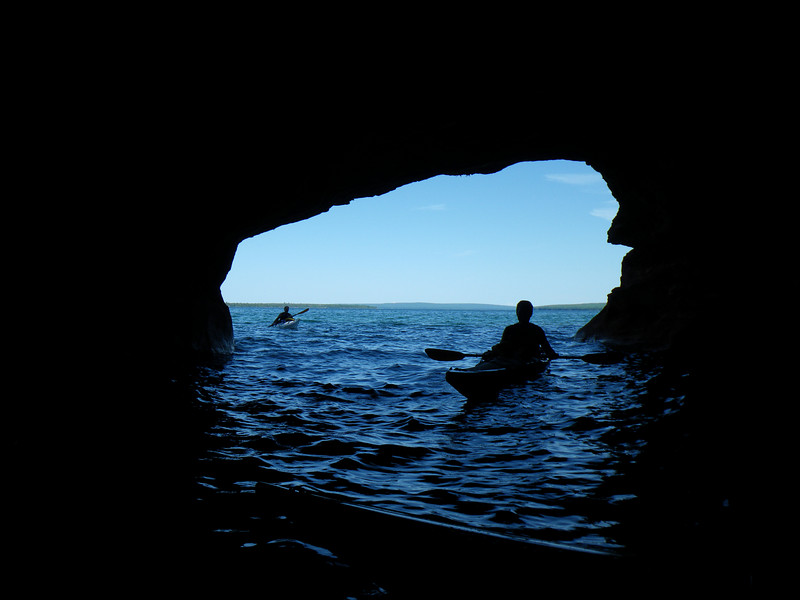 We explored the sea caves off of Sand Island.