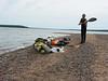 First stop, Raspberry Island.  Ben posing as a ... kayak pirate?