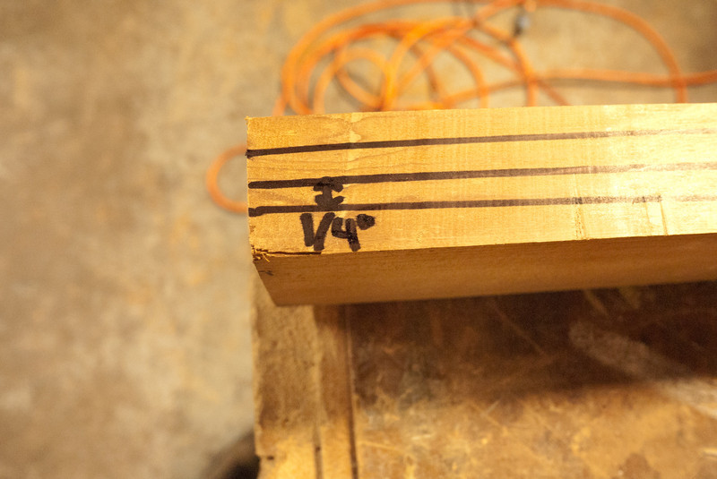"""Marking off the taper.  At the end of the paddle we'll have a 1/2"""" center.  This tapers to the full width at the handle"""