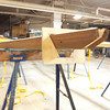 Plywood forms set the gunnel shape