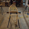 The top of the kayak is formed, each tenon is in place