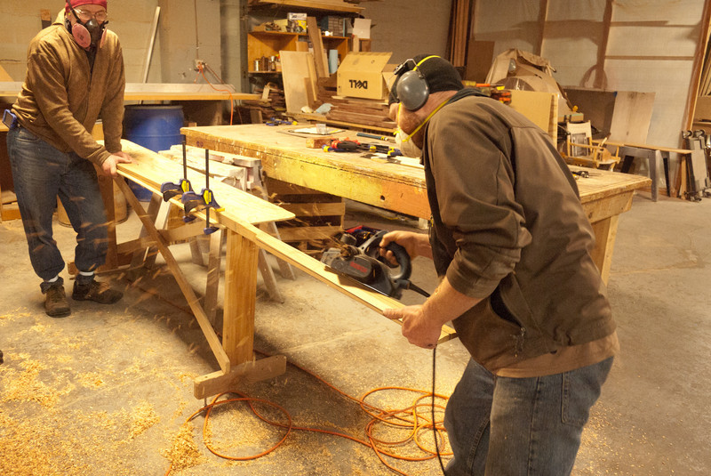 Roughing the blade with the power planer