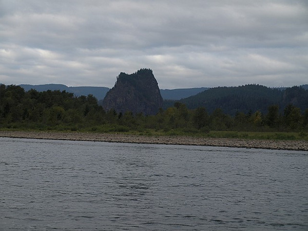 Beacon Rock from the Columbia River.