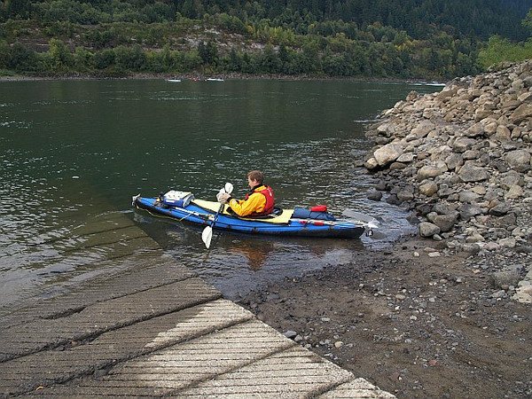 Me in my Folbot Yukon at the Hamilton Island boat ramp just below Bonneville Dam, all loaded up and ready to depart on my 6 day trip down the Columbia River to Astoria
