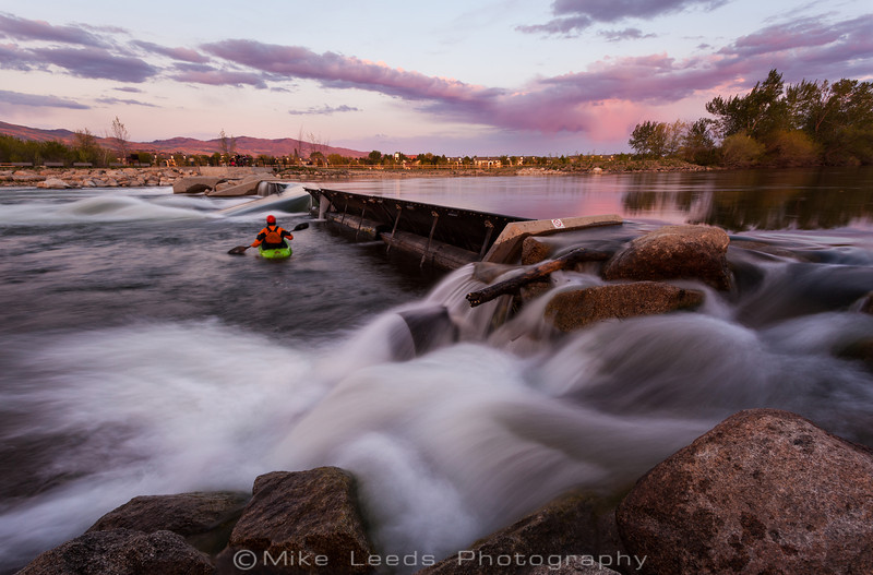 Unknown kayaker at the Boise Wave on a May evening.