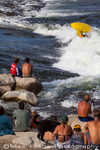 Dane Jackson with a nice Air Loop at Kelly's Whitewater Park in Cascade Idaho during the USA Freestyle Kayaking Nationals. 2012