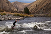 """Chris Peterson at """"Tight Squeeze"""" on the Main Salmon River, Idaho on a November morning."""