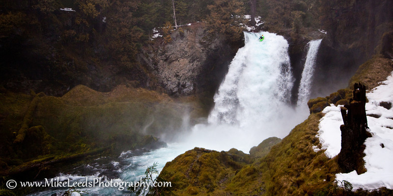 Seth Stoenner at the lip of Sahalie Falls, Oregon.
