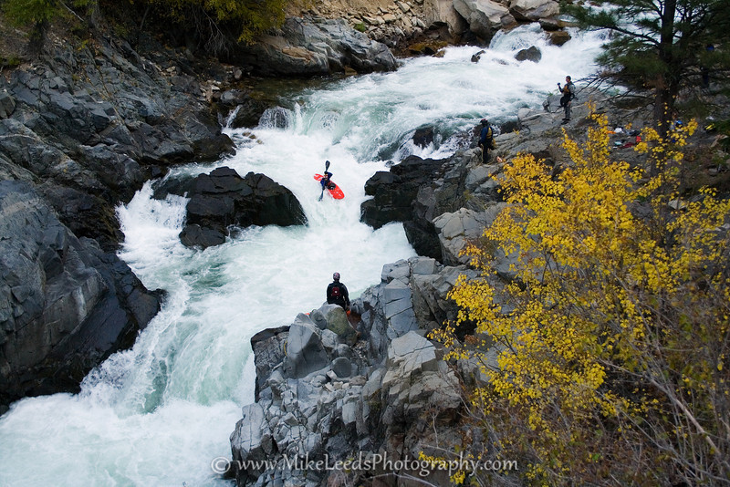 Paddler Graham Wright in Big Falls on the South Fork Payette River in Idaho.