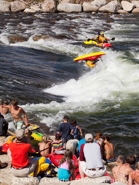 Nick Troutman with a huge Air Loop  during the USA Freestyle Kayaking Nationals at Kelly's Whitewater Park in Cascade Idaho.
