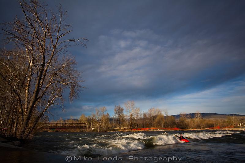 Dan Simenc enjoying the new Boise Whitewater park on an April eveninig during high water.