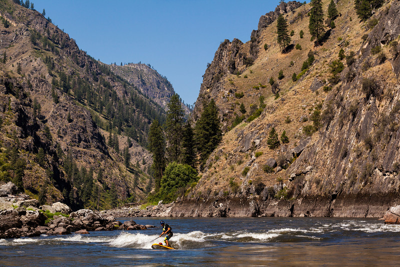 Michael Tavares surfing on the Main Salmon River in Idaho