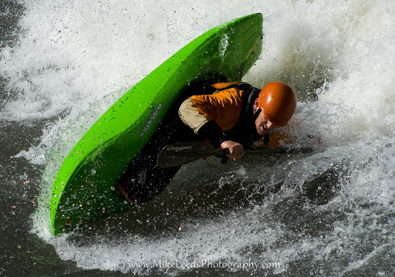 Paddler Matt Sylvester at Golds Hole/Wave on the Main Salmon River in Idaho.