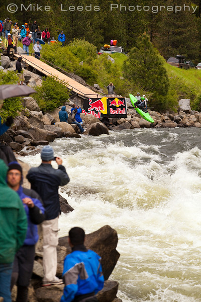 Lane Jacobs coming off the ramp at the top of Jacob's Ladder during the North Fork Championship in Idaho. 2012