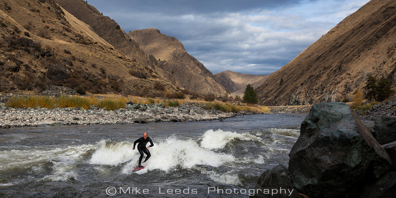 "Chris Peterson Surfing ""Tight Squeeze"" on the Main Salmon River in Idaho on a November morning."