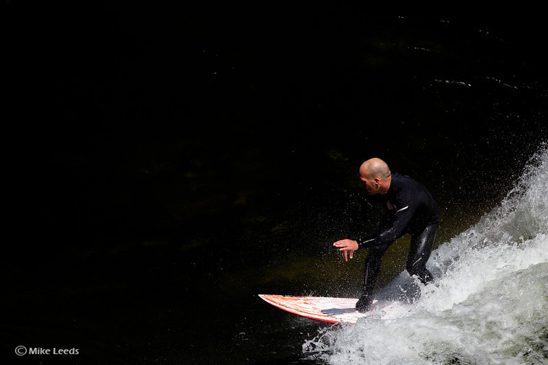 Chris Peterson surfing Pipeline wave on the Lochsa River in Idaho