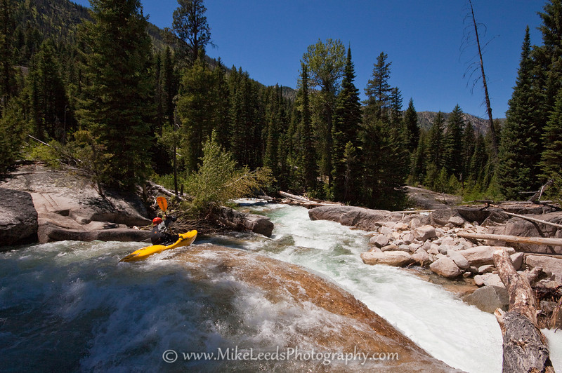 Paddler Brian Ward on the Upper South Fork Payette River, Sawtooth Mountains, Idaho.