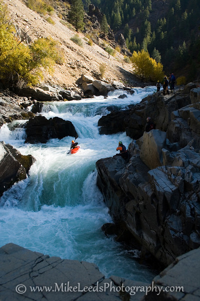 Paddler Micah Kneidl above the last drop of Big Falls on the South Fork Payette River in Idaho.