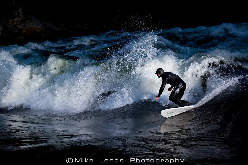 Kb Kevin Benhart Brown surfing Pipeline Wave on the Lochsa River in Idaho.