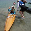 Paddler in a skin kayak