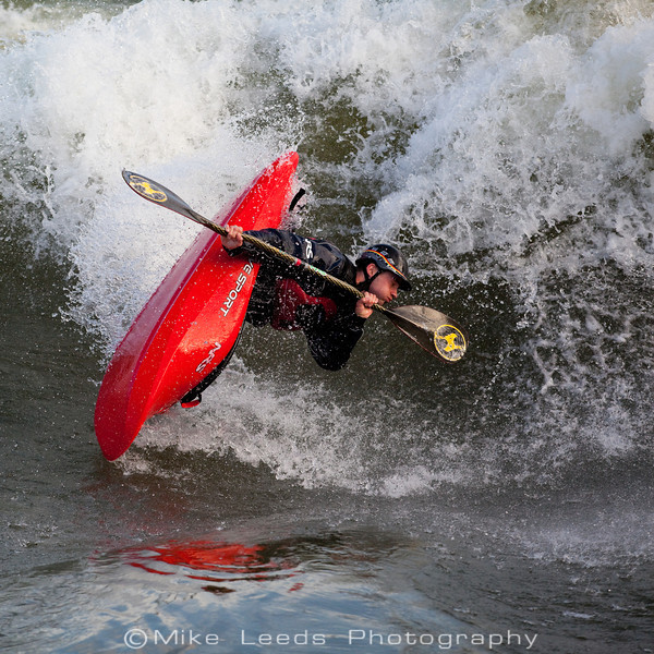 Paddler Dan Simenc with a Clean Blunt at the Bladder Wave on the Main Payette River in Idaho