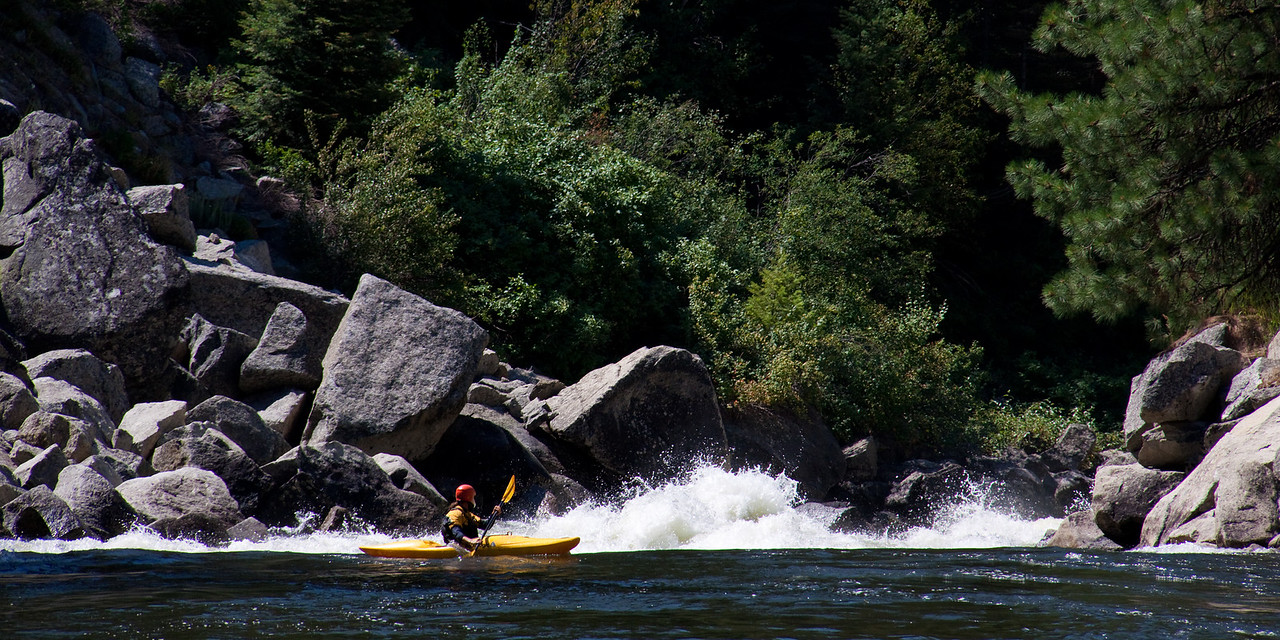 Brian Ward about to drop into Disneyland Rapid on the North Fork Payette River, Idaho.